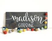 Personalized First + Middle Name wooden sign - nursery art - nursery sign - new baby gift - baby shower - kids room