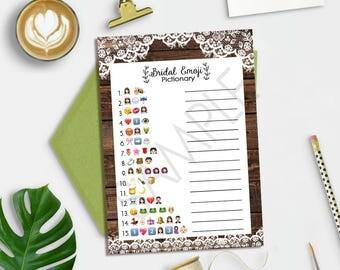 Emoji Pictionary Game, Bridal Shower Emoji Pictionary, Rustic Bridal Shower Games, Emoji Pictionary Printable, Emoji Game, Instant Download