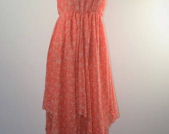 Vintage 70s Maxi Dress Hanky Hem Dress Smoked Dress Festival Dress Boho Dress 70s Floral Maxi