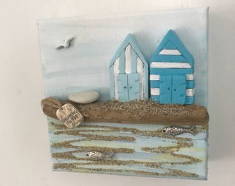 Handmade   Beach theme driftwood  clay canvas