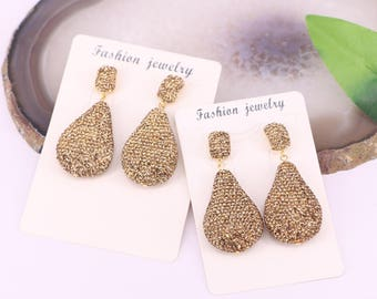 Fashion 3Pcs Gold Color Crystal Rhinestone Paved Drop Gemstone Earings For Women Jewelry