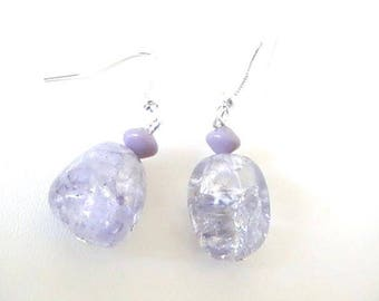 Asymmetrical earrings in purple glass beads