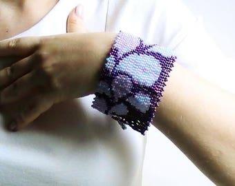 Purple and purple beads woven cuff