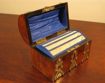 English Stationary Cabinet Antique Victorian Vintage Walnut Brass Correspondence Box C1860