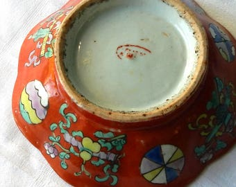 Small Chinese People's Ware Bowl - Lotus Form Taoist Symbols - Vintage or Antique Chinese Pottery Bowl with Coral Ground - Footed Bowl China