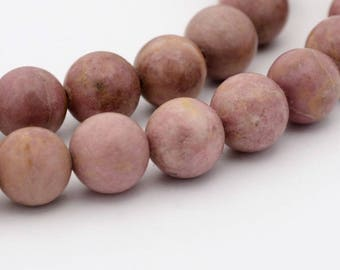 8mm Natural Rhodonite Beads Round 8mm Rhodonite 8mm Rhodonite Beads Pink Mala Rhodonite Stone 8mm Pink Beads 8mm Natural Rhodonite 8mm Beads