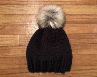 Black Knit Beanie with Fluffy Faux Fur Pom