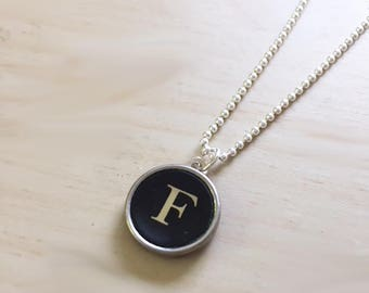 Letter F Typewriter Key Jewelry Charm Necklace. Black Initial F.  NO GLUE. Sterling silver.