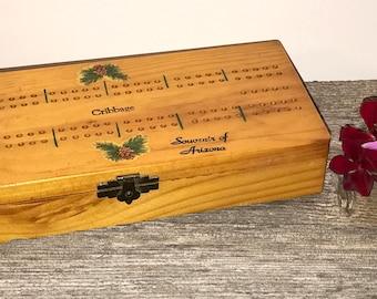 Vintage Cribbage Board 60's Arizona Souvenir  Wood Cribbage Hinged Box Board Game