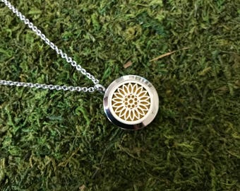 Sunflower Flower Stainless Steel Necklace, Diffuser Necklace, Aromatherapy Necklace, Womens, Necklace, Girls Necklace, Lotus Necklace