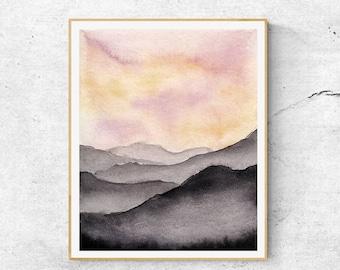 Watercolor Mountain Print, Fine Art Print, Contemporary Art, Mountain Sunset Painting, Modern Art, Gray Mountains, Abstract Art,  Art Print