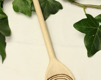 Magical Rowan Leaf & Labyrinth Spoon for Kitchen Magic - Beechwood - Pagan, Wicca, Witchcraft, Tintagel