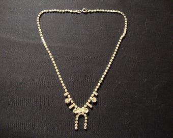 Bow-tie Vintage Clear Rhinestone necklace