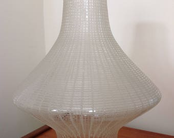 Large Mid Century Atomic Etched Glass Lampshade