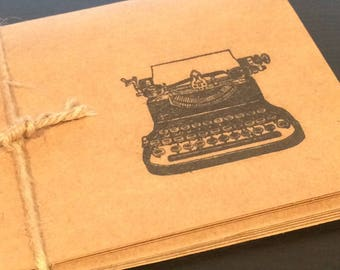 Blank Cards Typewriter Folded Old Fashioned Set of 5 kraft paper black hand stamped teacher writer student gift with envelopes