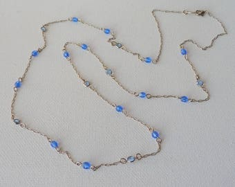 Silver Tone Chain Necklace Vintage Blue Crystal Gold Tone 31 inch Long Necklace Minimalist Jewelry, Minimalist Necklace, 70's Silver Jewelry