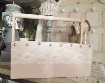 Rack of weathered wood and lace shabby chic
