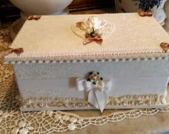 Jewelry box shabby chic ivory and white