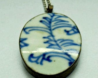 Sterling Necklace Porcelain Necklace Blue and White Porcelain Sterling Silver Chain