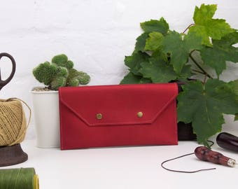 Metallic Red leather clutch bag, leather clutch, minimalist clutch bag, red leather purse, leather bag, red womens clutch, leather pouch