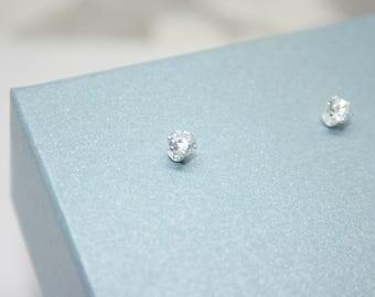 CZ Diamond Stud, Small CZ Studs, 4mm, CZ Earrings, Sterling Silver, Stud Earrings, Bridesmaid Earrings, Simulated Diamond, Lab Diamond