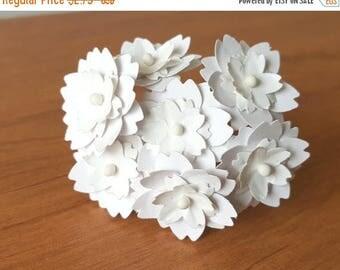 "30% OFF 1"" white paper flowers / white flowers / handmade white flowers / handmade paper flowers / handmade flowers / white artificial flowe"