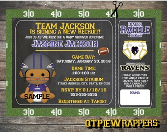 Printable Baltimore Ravens Football Baby Shower Invitations Boy and Girl Cheerleader Personalized attached Raffle Ticket