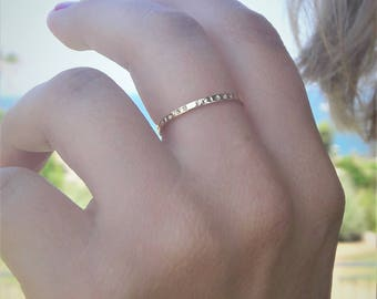 Personalized stacking ring 18k gold over silver engraved stacking rings initial ring stackable name rings minimalist jewelry dainty  ring