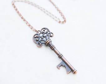 Scroll Key Necklace, Copper Key, Bottle Opener Necklace, Key Necklace, Bohemian Key Necklace, Key Jewelry, Boho Chic, Layering Chain,