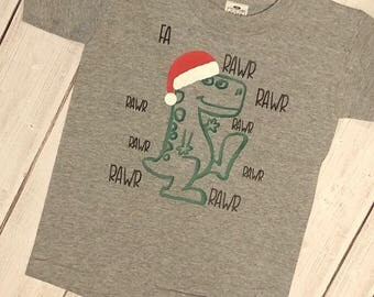 Dinosaur 'Fa La La' Rawr Christmas Shirt - Kids and Toddler's