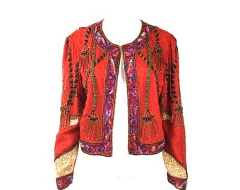 Laurence Kazar Sequin Beaded Print Jacket