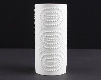 White op art bisque porcelain vase by Heinrich, West Germany, Mid Century, 60s, vintage