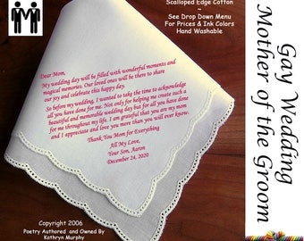 Gay Wedding ~ Mother of the Groom Gift From The Groom G110 Title, Sign & Date for Free!  Gay Wedding Gift Mr. and Mr. LGBT