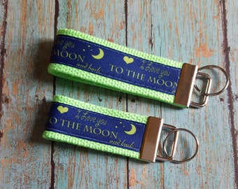 """x2 Luggage Backpack Tag Keychain Mother Daughter / Son - """"I love you to the moon and back"""" saying  FOB book"""