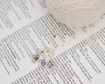 Heart locking stitch markers, crochet gift, bag charm, stitch keeper, removable stitch marker