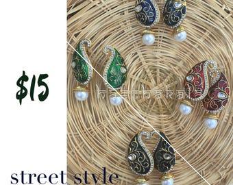 Festive Collections : Mango Shaped Earrings/Meenakari Earrings/Long Earrings/Desi Wear/Party Wear/Dussehra Collections