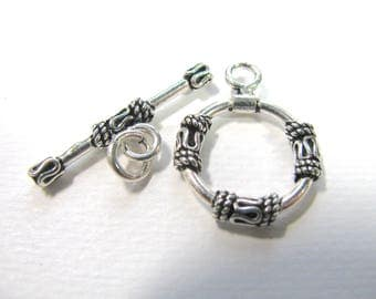 Toggle clasp, Sterling Silver, ring 17mm, toggle 27mm, Jewelry supply B-3068