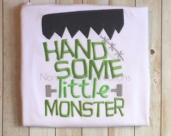 Handsome Little Monster Embroidered Halloween Shirt - Boy's Halloween top - Embroidered fall or Halloween t-shirt - Frankenstein Boy Shirt