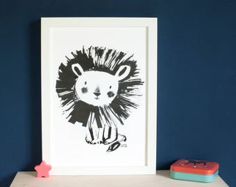 Framed cute lion art print, print for a baby's room, child's bedroom art,  a baby shower gift, a cute poster for kids, sweet monochrome lion