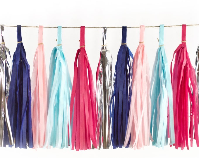 Gender Reveal Tassels, Tissue Tassels, Tassel Banner, Birthday Party Decor, DIY Tassels, Girl or Boy Gender Reveal Pink and Blue Baby Shower