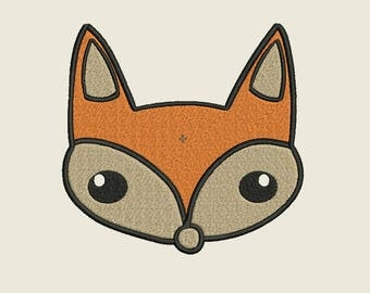 Fox embroidery design in 3 sizes for 4x4 and 5x7, Fox Face embroidery outlined