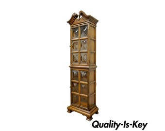 """Vintage 73""""H Bubble Glass Narrow Hollywood Regency Lighted Display Curio Cabinet"""