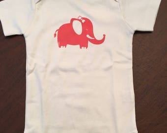 Elephant Organic Cotton Baby Clothes Custom Screen Printed Onesie 18-24mo