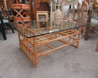 Glass Top Rattan Coffee Table