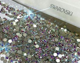 30 piece Swarovski crystal flat back stones gems rhinestone non hotfix - crystal ab or clear for design nail art clothes shoes and more!