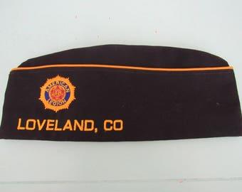 Vintage American Legion Loveland, CO Garrison Cap Sz 7 5/8 with Pins Free Shipping