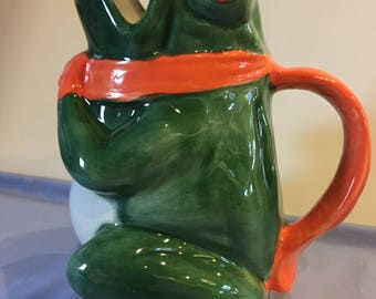 Ceramic Glazed Frog watering can