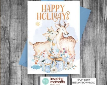 Christmas Card | Greeting Card | Winter | Blank Note Card | Deer  | Mom And Child | Snowflakes | Watercolor | Printable | Instant Download