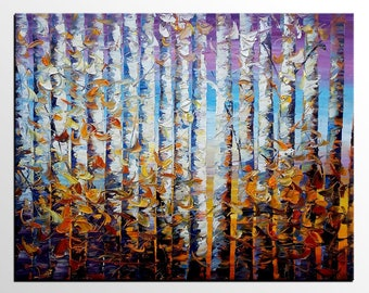 Landscape Painting, Birch Tree Art, Original Painting, Oil Painting, Canvas Painting, Wall Art, Abstract Art, Large Art, Abstract Painting