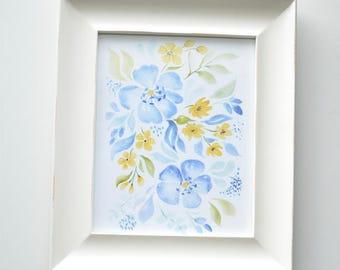 Blue Floral Art Print--NEW!!